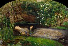 """Pre-Raphaelite Brotherhood (1848-1919) (Victorian restrained romanticism & Belle Époque 1837-1912) original water portrait """"Ophelia"""" (1851-52) by Millais, John Everett (1829Jun8 > 1896 Aug13 @67) • 1400x952px • via EtruscanMajolica 2017-07"""