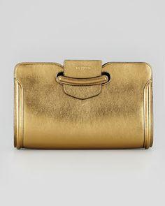 Heroine Metallic Clutch Bag, Gold by Alexander McQueen Metallic leather.  Flap with McQueen logo