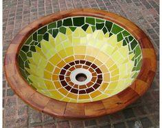 Cubas de apoio em mosaico