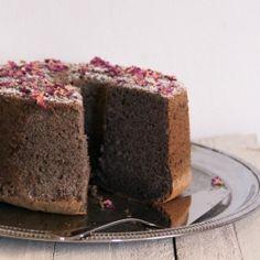 Rose, black sesame chiffon cake.