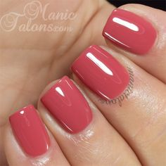 Pink Gellac Coral Red (In person, darker, more maroon/brick tones than this swatch. Good application, coverage & shine.)