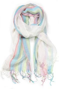 White and Pastel Spring Scarf