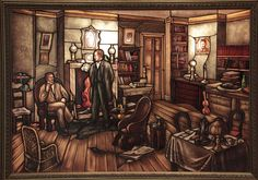 Stained-glass image of Holmes and Watson in Baker Street, by Joseph Aigner of Artistic Glass. Sherlock Holmes Stories, The Great Mouse Detective, Yonge Street, Literary Characters, Magazine Illustration, 221b Baker Street, Illustrators, Stained Glass