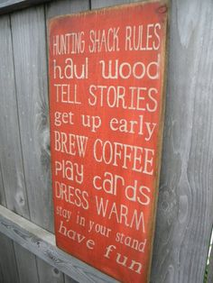 Primitive Rustic Hunting Cabin Rules Sign Typography  by Wildoaks, $30.00