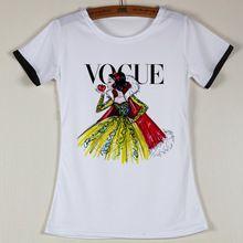 b7b472892a551 A estrenar mujeres camiseta Vogue impresión ocasional de la camisa para la  señora del poliester camisa
