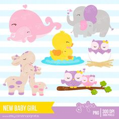 NEW BABY GIRL Digital Clipart Baby Animals Clipart by grafos, $2.50