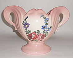 Camark Pottery Rose/floral Decorated Two Handle Vase