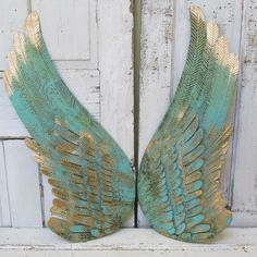 Metal Wall Wings With Heart Robins Egg Blue Rusty Distressed Sculpture Home Decor Anita Spero Pinterest Walls And
