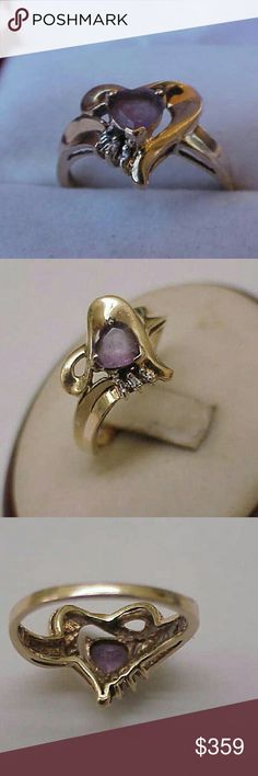 Estate 10k gold genuine amethyst diamond ring Natural amethyst estimated. 65ct decorated with 3 baguettes cut diamonds.  Si in clarity and h in color.  Stamped 10k. Weight 2.8gr. Size 7. Jewelry Rings