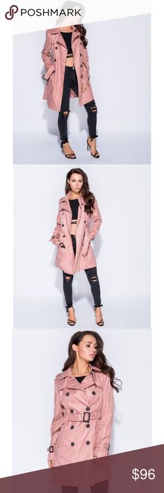 🆕 Mauve Pink Long Sleeve Longline Trench Coat New with tags. Adorable and stylish, mauve pink trench coat. Has a smooth, matte finish. S=2-4, M=6-8, L=10-12, XL=14.                                                            🌺Price is firm unless bundled🌺                                     ❌SORRY, NO TRADES. The O Boutique Jackets & Coats Trench Coats
