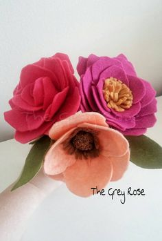 Felt+flowers+felt+flower+bouquet+flower+decor+by+thegreyrose