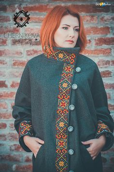 Outstanding Fall / Winter Fresh Look. Lovely Colors and Shape. Iranian Women Fashion, African Fashion, Sweatshirt Makeover, Black Wool Coat, Folk Fashion, Embroidered Clothes, Costume, Trench Coats, Casual Fall