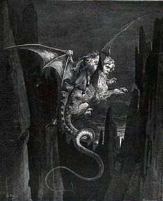 Doré's engraving of Geryon—the winged monster with a poisonous stinging tail that lived just above the Malebolge. Geryon has become the Monster of Fraud, a winged beast with the face of an honest man, the paws of a lion, the body of a wyvern, and a poisonous sting at the tip of his tail. He dwells somewhere in the depths below the cliff between the seventh and eighth circles of Hell