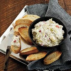 Blue cheese amps up the flavor for a little twist on the traditional artichoke appetizer. The dip holds up well for about two hours after the cook time. Serve with pita chips or toasted baguette slices.