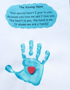 Example of Hand print from The Kissing Hand. So sweet!