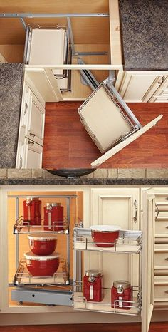 Two-Tier Blind Corner Pull-out Chrome/Maple Rev-A-Shelf blind corner pull-out unit -- I could really use something like this.Rev-A-Shelf blind corner pull-out unit -- I could really use something like this. Kitchen Cabinet Organization, Kitchen Drawers, Kitchen Doors, Kitchen Redo, Storage Cabinets, Kitchen Storage, Kitchen Remodel, Pantry Storage, Diy Organization