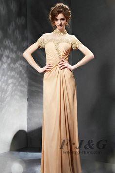 Yellow Appliques Ruffles Lace High Collar Short Sleeve Hollow  Dress 30688