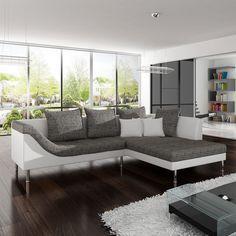 Sofa napoli 300x95cm weiss hellgrau couch rundsofa mit for Rundsofa mit schlaffunktion