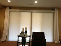 Honeycomb Verti-Glide Shade are great on sliding glass doors and energy efficient. Installed by Budget Blinds of Lacey, WA