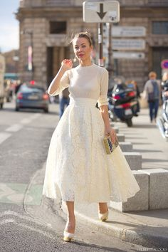 lace skirt with chiffon top