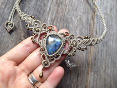 Micro macrame necklace elven tiara Custom par creationsmariposa, $75.00