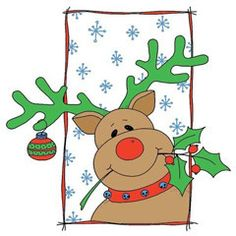 """Merry Reindeer Rubber Stamp by Great Impressions G291 size 2.5 """"W x 2.5""""H Reindeer with Christmas spirit A Reindeer with holly and ornament frame Available mou"""
