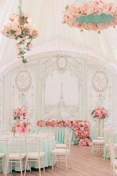 Gorgeous pastel décor with floral table centrepieces and chandeliers! | WedMeGood|#wedmegood #indianweddings #decor #pastels #weddingdecor #floraldecor #pastelflowers