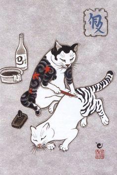 Des chats tatouant dautres chats dans des dessins à lencre de Kazuaki Horitomo  Dessein de dessin