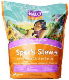 I just saw this and had to have it Halo Spot's Stew Natural Dry for Small Breed Dogs, Wholesome Chicken, 10-Pound Bag you can {read more about it here http://bridgerguide.com/halo-spots-stew-natural-dry-for-small-breed-dogs-wholesome-chicken-10-pound-bag/