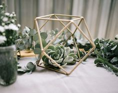 Rustic Glam Bridal Shower by Anike Benade deko hochzeit Succulent Wedding Centerpieces, Bridal Shower Centerpieces, Wedding Flower Arrangements, Quinceanera Centerpieces, Centrepieces, Table Centerpieces, Floral Arrangements, Geometric Wedding, Floral Wedding