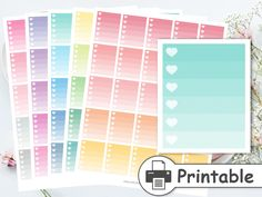 PRINTABLE Pastel Ombre Heart Checklist,Full Box Checklist,Checklist Planner Stickers,Ombre Box Stickers,Check Box Stickers,To do Checklist by AnnaLizDesign on Etsy