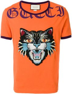 Gucci Angry Cat embroidered T-shirt Cosas Para Comprar 24d84189a3294