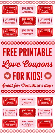 Free printable Love coupons for kids on Valentine's Day. This is a great way to show your kids how much you love them with free trips to the ice cream store and stay up late coupons. So fun! See more Valentine's Day party ideas and free printables at CatchMyParty.com.