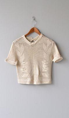 Twin Laurel sweater vintage 30s crochet top 1930s by DearGolden