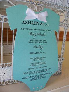 The Original Tiffany Inspired Baby Shower Invitation - Custom Die Cut Onesie