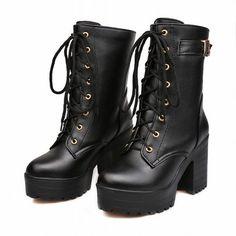 Carol Shoes Fashion Women's Lace-up Buckle Combat Platform Chunky High Heel Mid-calf Boots (8.5, Black)