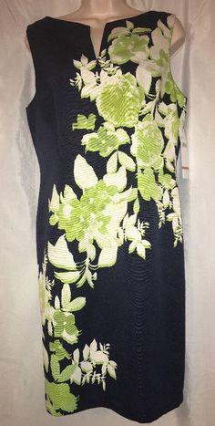 Chetta B Navy Blue Green Floral Fitted Sleeveless Tank Dress Size 12 | eBay
