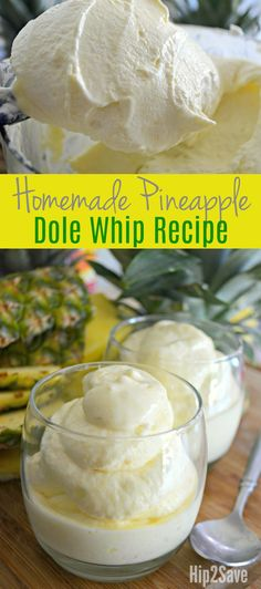 """It's so easy to make your own delicious version of the famous frozen Dole Whip at home. It's such a refreshing frozen treat that's perfect for a hot summer day! The basic idea is to """"whip"""" frozen pineapple using a high powered blender or food processor, a Köstliche Desserts, Frozen Desserts, Frozen Treats, Delicious Desserts, Dessert Recipes, Yummy Food, Frozen Drinks, Sweet Desserts, Dole Pineapple Whip"""