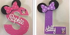 Personalised Minnie Mouse wooden letters. Pink or purple. $30 each www.facebook.com/nameitnow.com.au