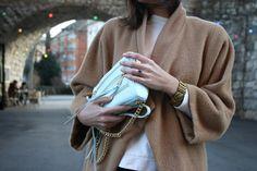 Oversized coat by Paula Immich, Rebecca Minkoff mini bag Camel & blue shades