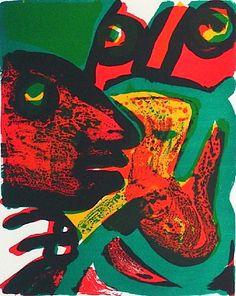 Visages rouges, Lithographie, vom Maler, Bengt, LINDSTROM,