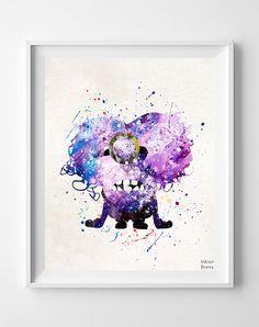 Despicable Me Print, Purple Minion Poster, Evil Minions Print, Watercolor Art, Illustration, Nursery Room Decor, Fathers Day Gift