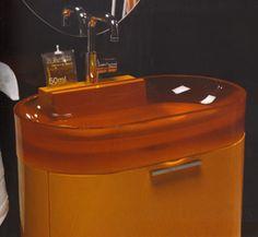 Regia Bilbao Bathroom Vanity Sinks, comprising a  countertop glass washbasin set on a floor mounted 2 drawer storage cabinet. 70cm w X 50cm d X 45cm h