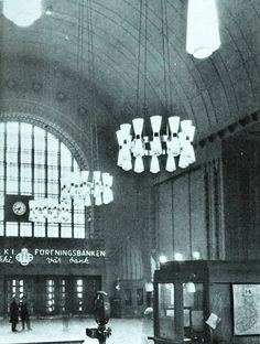 Monumental chandeliers by Paavo Tynell, custom made for the Helsinki Central Railway Station, designed in 1940s. /