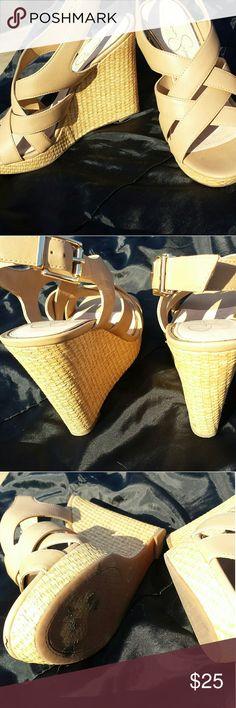 "Jessica Simpson nude wedges,  size 9 Jessica Simpson nude wedges,  women's size 9, buckle closure,  4.5 "" heel, 1"" platform Jessica Simpson Shoes Wedges"