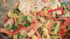 Wonderful pasta salad. So different from the Italian dressing pasta salads. Very hearty side dish or main dish for lunch. Crunchy veggies and rich pesto sauce....