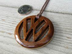 Volkswagen Emblem Necklace  Hand Crafted Walnut & Maple by TheLotusShop, $24.95 #VW #Volkswagen