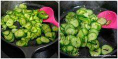 Sautéed Korean Cucumber Side Dish - Easy, simple, crunchy and delicious stir fried Korean cucumber salad. Korean Cucumber Side Dish, Korean Cucumber Salad, Cucumber Kimchi, Easy Korean Recipes, Asian Recipes, Asian Foods, Cooking Ingredients, Cooking Recipes, Korean Vegetables