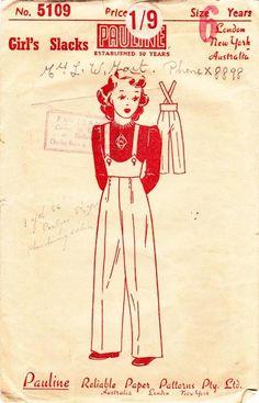 1940s Girls Slacks