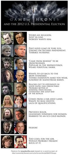 Game of Thrones and the 2012 U.S. Presidential Election #politics - like the last guy!  HA